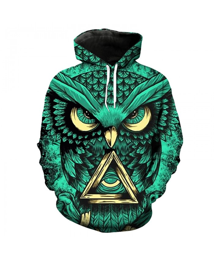 Cool 3D Owl Print Green Fashion Men Women Hoodie Sweatshirt Casual Pullover