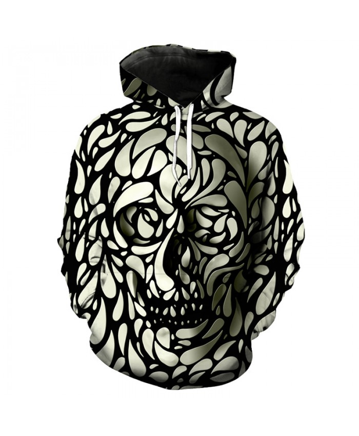 Cool 3D skull print fashion hip hop streetwear hooded pullover Tracksuit Pullover Hooded Sweatshirt
