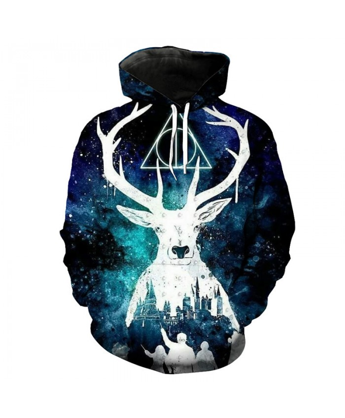 Cool 3D starry reindeer print fashion hooded sweatshirt hip hop streetwear