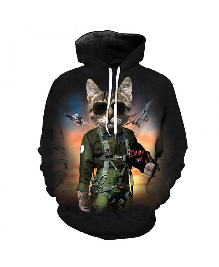 Cool American Air Force Captain Cats Hooder Sweatshirts Casual Hoodie Autumn Tracksuit Pullover Hooded Sweatshirt
