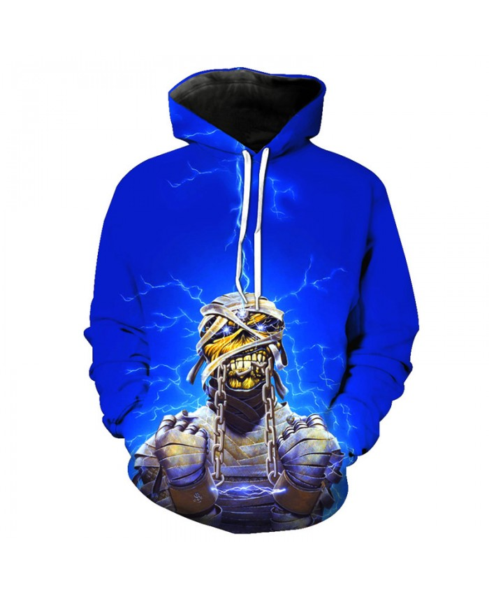 Cool Blue Lightning Mummy Hoodie Fashion Skull Pullover Sweatshirts Tracksuit Pullover Hooded Sweatshirt