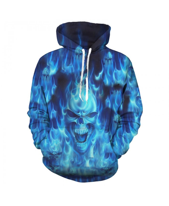 Cool Burning Blue Flames Fashion Hooded Sweatshirt Tracksuit Pullover Hooded Sweatshirt