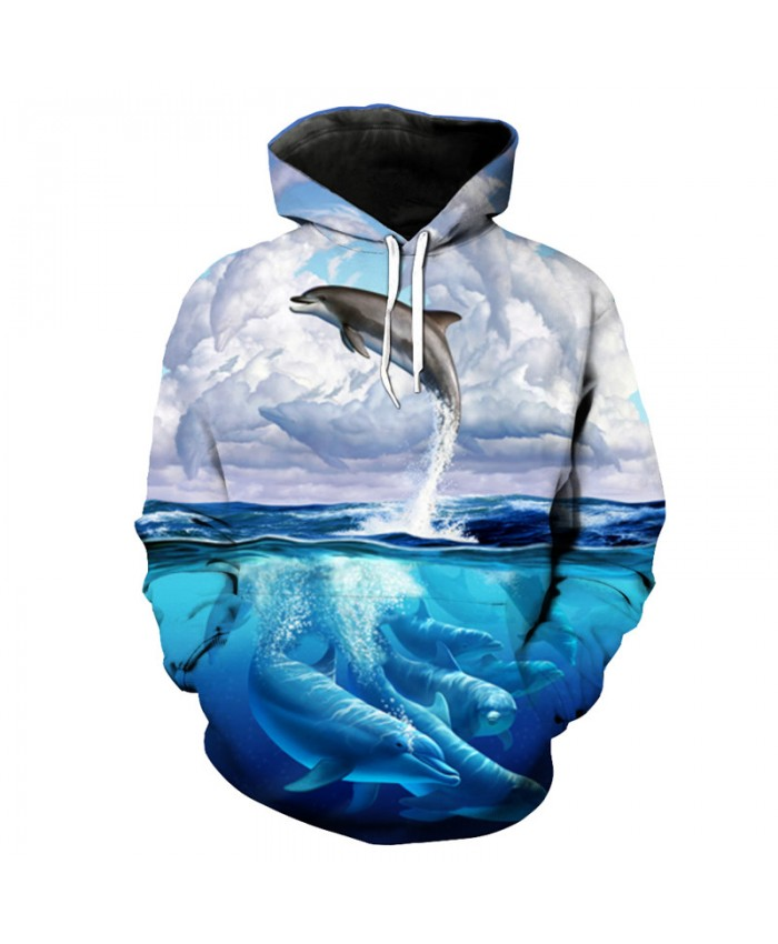Cool Flying Dolphin Print Sportswear Latest Fashion Hooded Sweatshirt Men Women Casual Pullover Sportswear