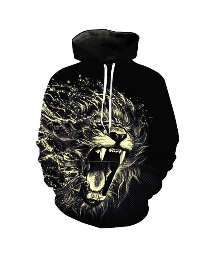 Cool Flying Water Drops 3D Lion Hooded Sweatshirt Fall Pullover Casual Hoodie Autumn Tracksuit Pullover Hooded Sweatshirt