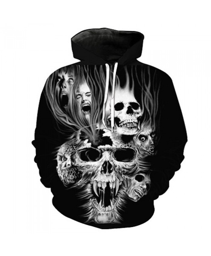 Cool Skull Printed Hoodies 3D Men Women Fashion Sweatshirts Hooded Tracksuits Male Pullover Brand Drop Ship Hoodie