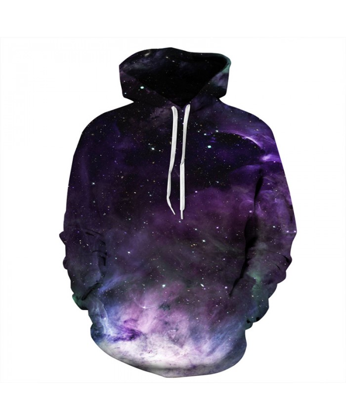 Cool Space Galaxy Print Fashion Men Women Hooded Sweatshirt Latest Purple Nebula Hoodies Autumn Sportwear