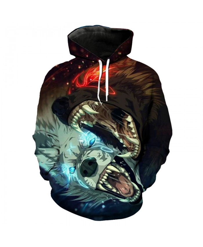 Cool anime cartoon double wolf bite print fashion men's hooded sweatshirt Tracksuit Pullover Hooded Sweatshirt