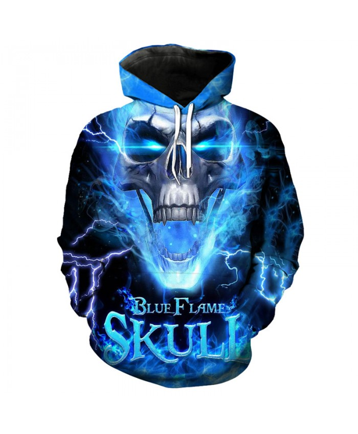 Cool blue lightning flame print fashion 3d hooded sweatshirt hip hop sportswear Tracksuit Pullover Hooded Sweatshirt