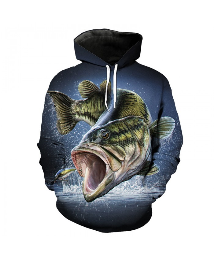 Cool chase hook fish print fun 3d hooded sweatshirt pullover Men Women Casual Pullover Sportswear