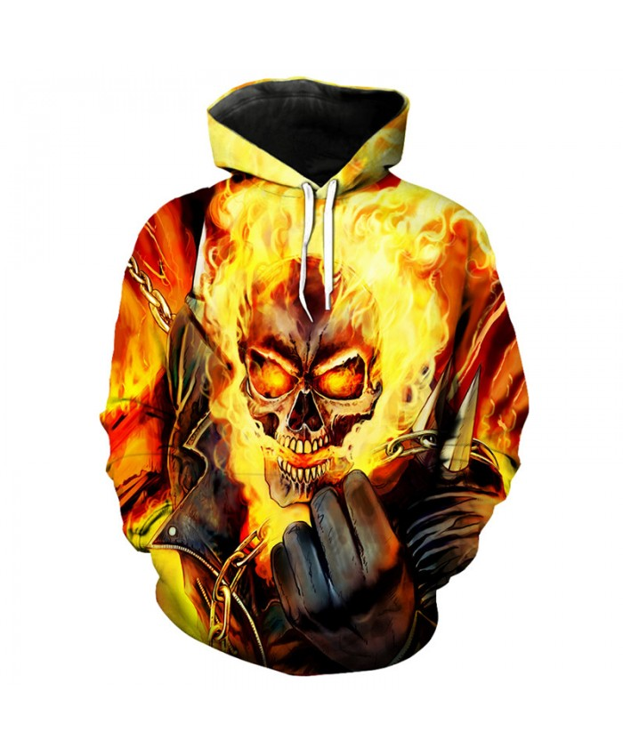 Cool flame skull printing hip hop street fashion hooded sweatshirt pullover Tracksuit Pullover Hooded Sweatshirt