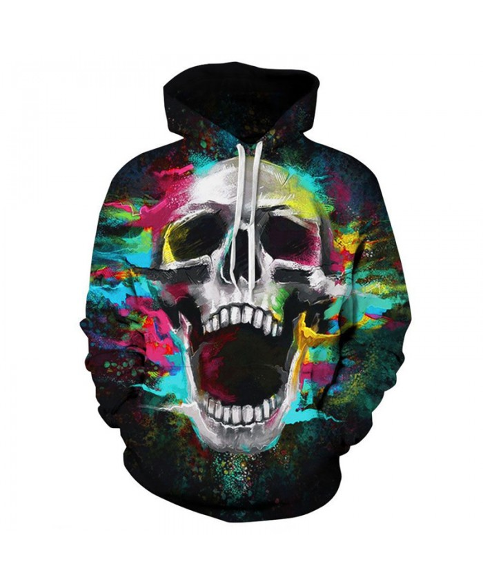Cool graffiti color skull print fashion hooded sweatshirt pullover hip hop streetwear