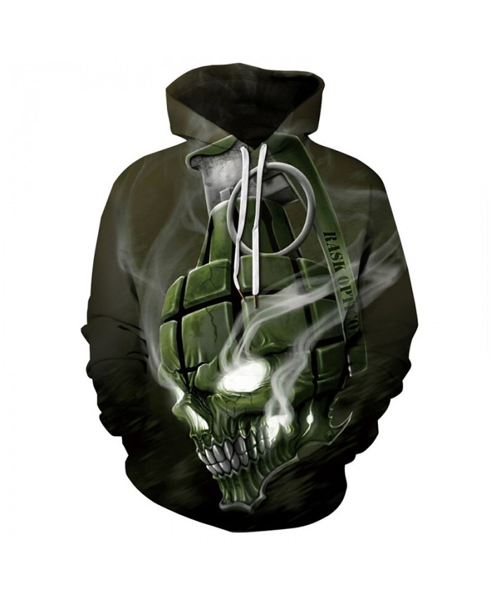 Cool grenade skull print fashion 3D hooded sweatshirt casual streetwear