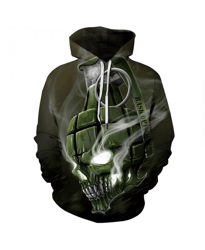 Cool grenade skull print fashion 3D hooded sweatshirt casual streetwear
