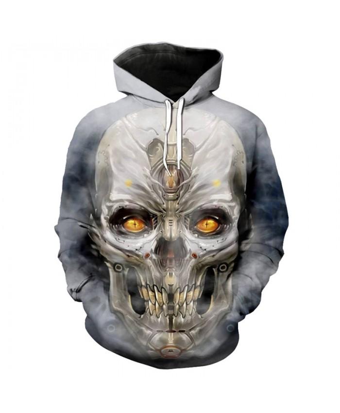 Cool mechanical metal skull fashion 3D men's hooded sweatshirt streetwear casual pullover Tracksuit Pullover Hooded Sweatshirt