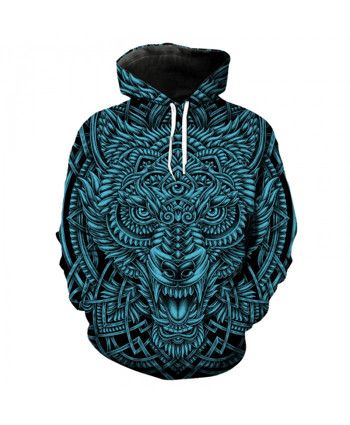 Cool totem wolf print fashion hooded sweatshirt pullover hip hop streetwear Tracksuit Pullover Hooded Sweatshirt