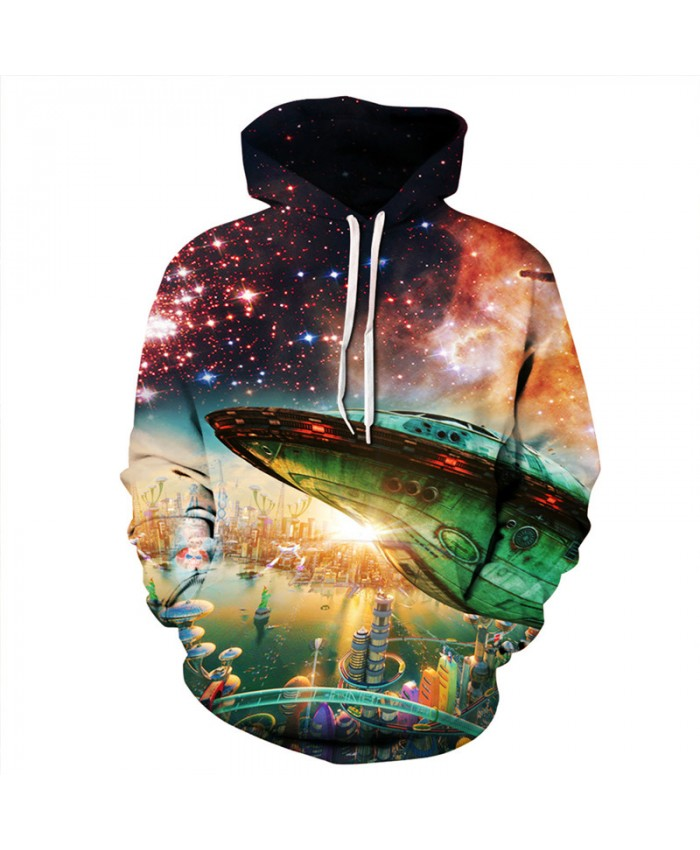 Cosmic Alien Base Green UFO Fashion Hooded Sweatshirt Cool Pullover