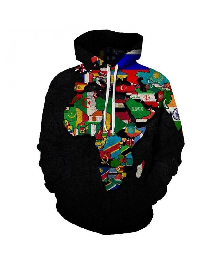 Country Distribution Map 3D Print Men Pullover Sweatshirt Pullover Hoodie Casual Fashion Men Streetwear Sweatshirt