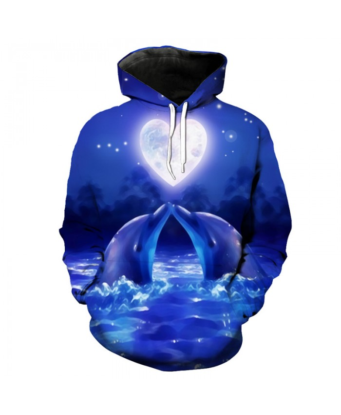 Couples 3d Dolphin Purple Hoodie Sweatshirt Men Women Fashion Pullovers Sportswear Men Women Casual Pullover Sportswear