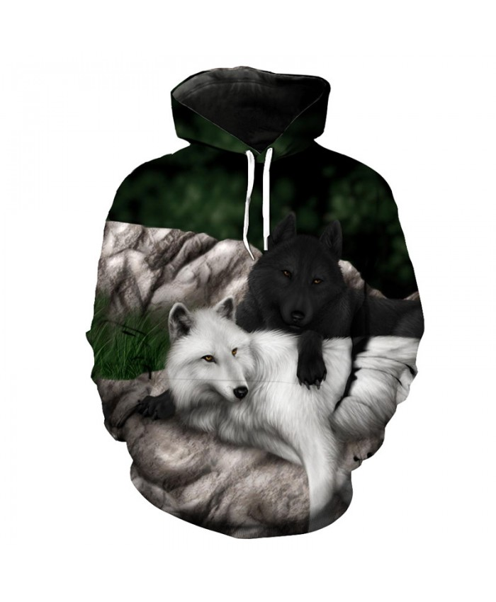 Couples Black and White Wolf Print Fun Hoodie Sweatshirt Men Women Casual Pullover Sportswear