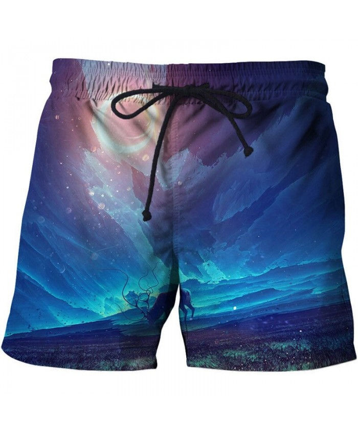 Cows Graze Under The Stars 3D Printed Board Shorts Elastic Waist Beach Shorts Summer Male Clothing Short Trousers