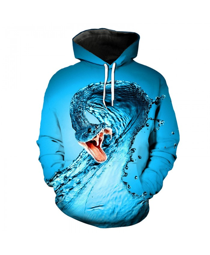 Creative Dripping Snake Print Fashion Hooded Sweatshirt Blue 3D Pullover