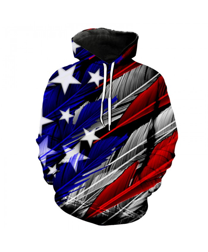 Creative Feather Effect American Flag Printing Fashion Cool Dooded Sweatshirt Casual Pullover