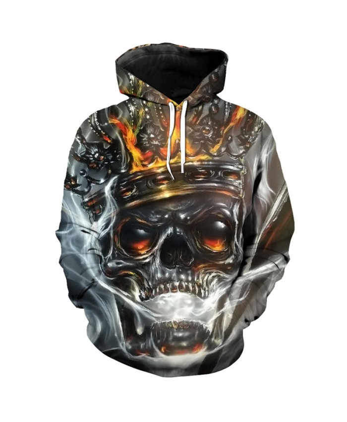 Crown King skull print fashion 3D hooded pullover casual sweatshirt Tracksuit Pullover Hooded Sweatshirt