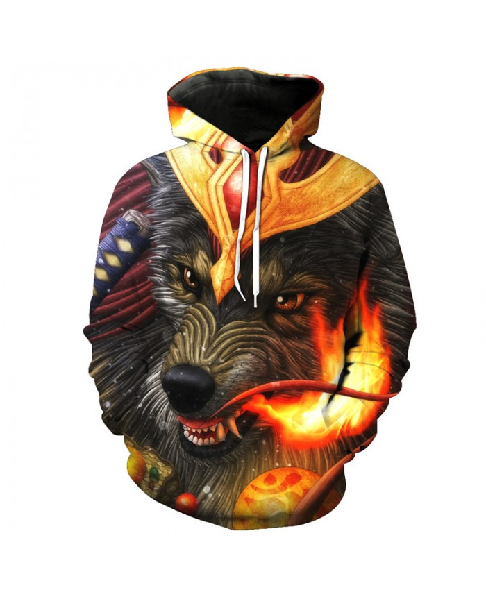 Crown spray Fire Wolf King Cool 3D Hooded Sweatshirt Men Women Casual Pullover Sportswear
