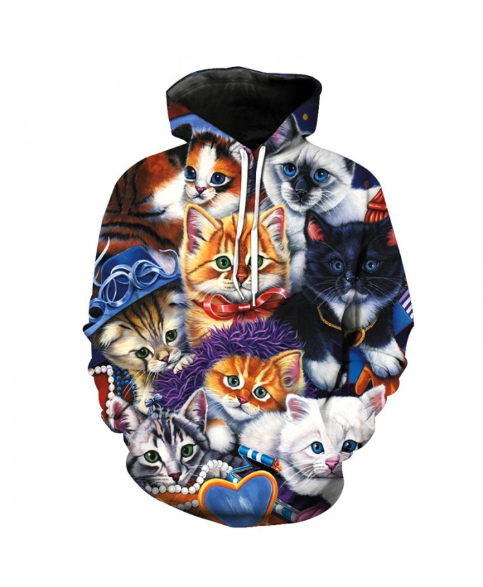 Cute 8 Brothers Cats Fashion Cool Hooded Pullover Casual Hoodie Autumn Tracksuit Pullover Hooded Sweatshirt