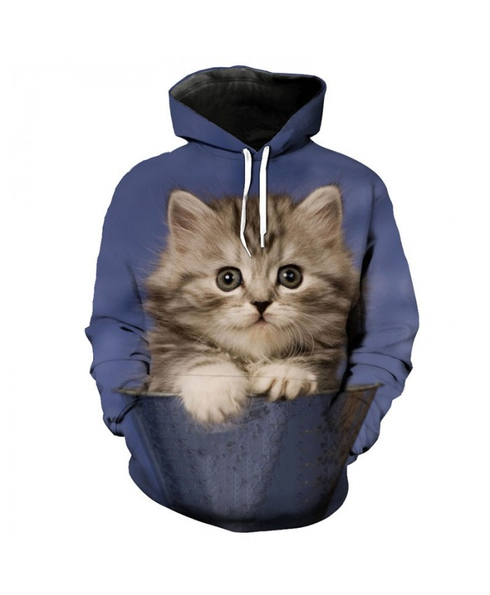 Cute Bucket Cat Funny Hooded Sweatshirt Pullover Casual Hoodie Autumn Tracksuit Pullover Hooded Sweatshirt