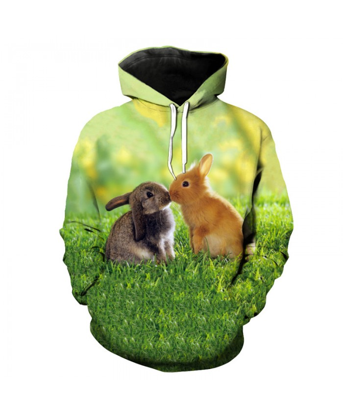Cute Bunny Funny Hooded Sweatshirts Men Women Sportswear