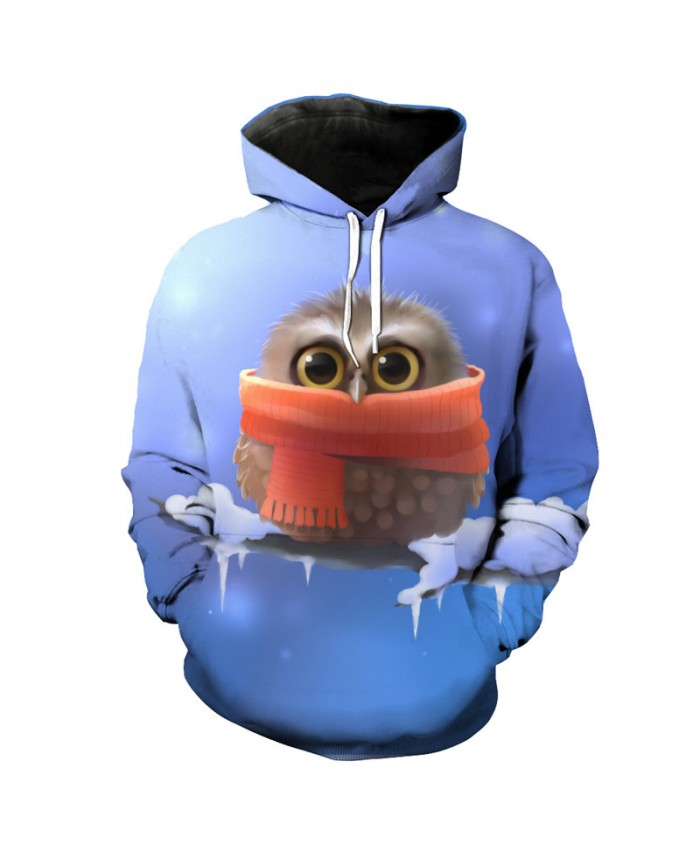 Cute Cartoon Owl Hooded Pullover Men Women Sportswear