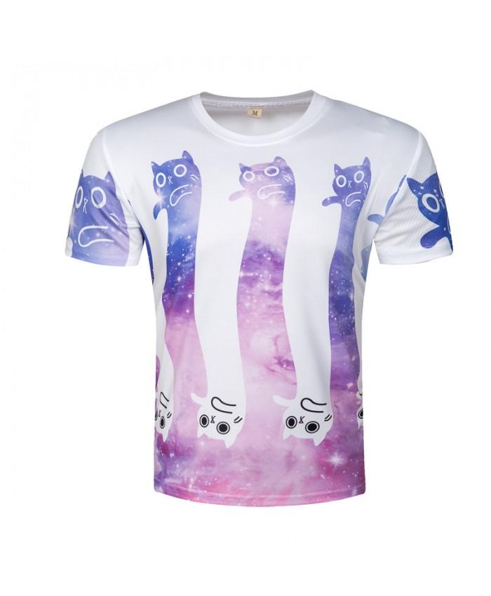 Cute Cat T-shirts Galaxy Tops Funny Printed Men Tshirts 2018 Character Cartoon Tees Harajuku Space Camisetas Homme
