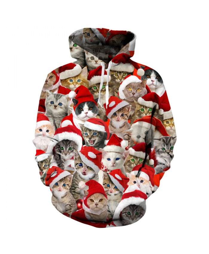 Cute Kitten Cats 3d Christmas Hoodies Sweatshirt Men Unisex Hoody Tops Holiday Sudadera Hombre Pullover Tracksuit