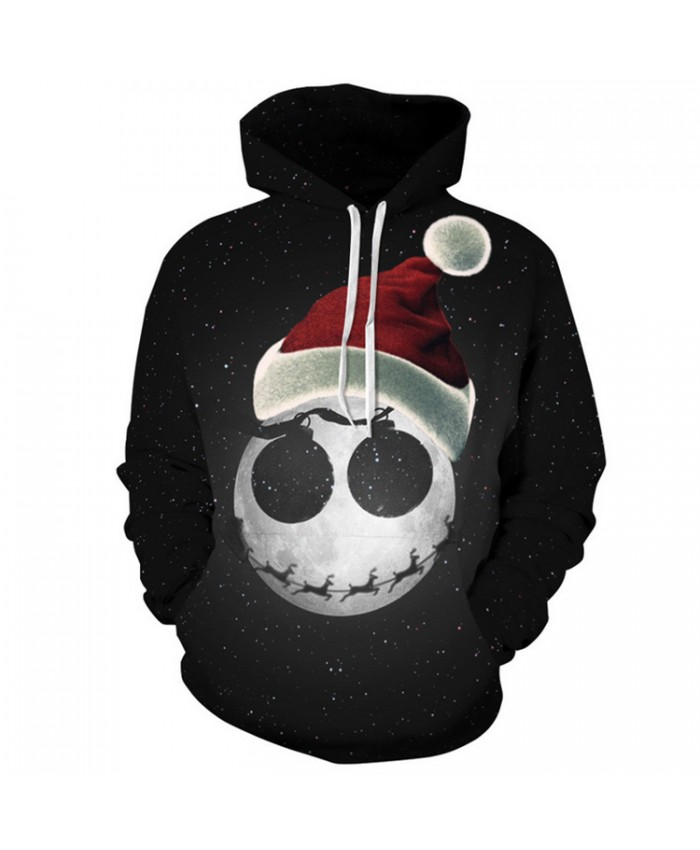 Cute Skull Christmas Hat Christmas Hoodies 3D Sweatshirts Men Women Hoodie Print Couple Tracksuit Hooded Hoody Clothing