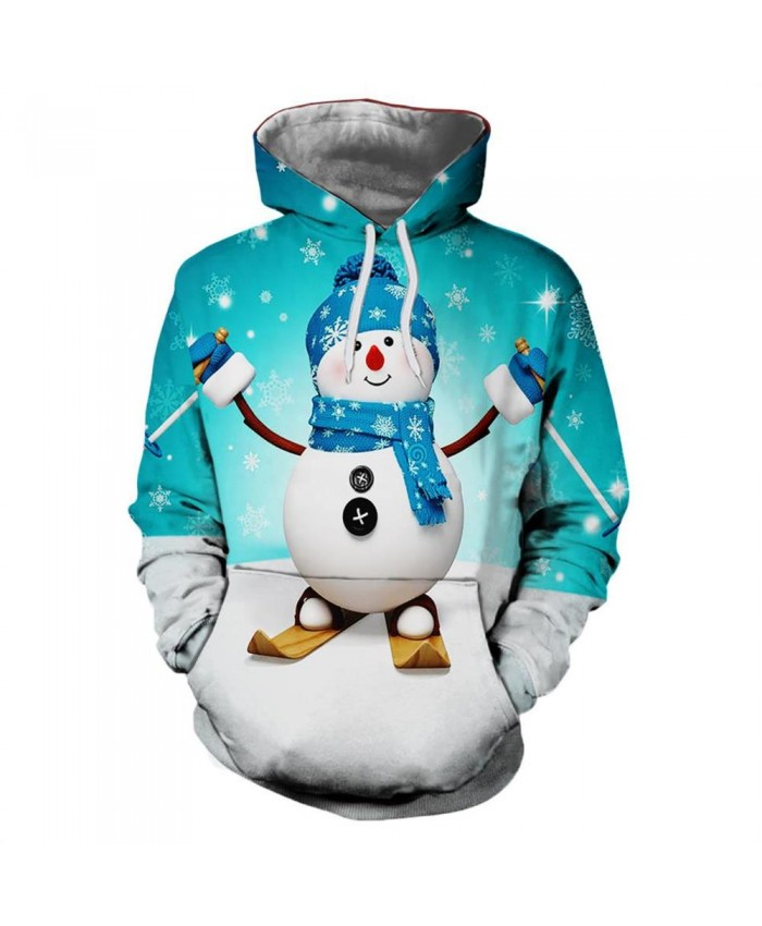 Cute Snowman Christmas Hoodies 3D Sweatshirts Men Women Hoodie Print Couple Tracksuit Hooded Hoody Clothing