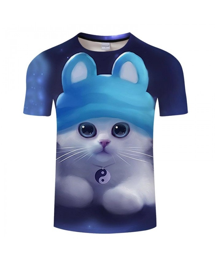 Cyan Hat Cat 3D Print Men tshirt Crossfit Shirt Casual Summer Short Sleeve Men Brand T Shirt Men Round Neck Tops&Tee