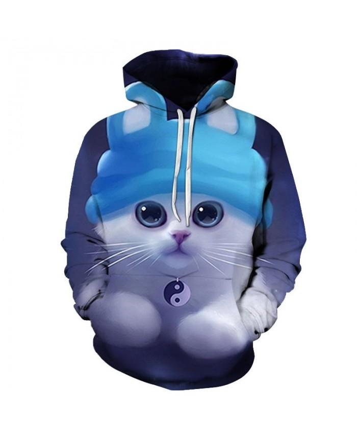 Cyan Hat Cat 3D Printed Mens Pullover Sweatshirt Pullover Casual Hoodie Men Streetwear Sweatshirt Tracksuits Hoodie