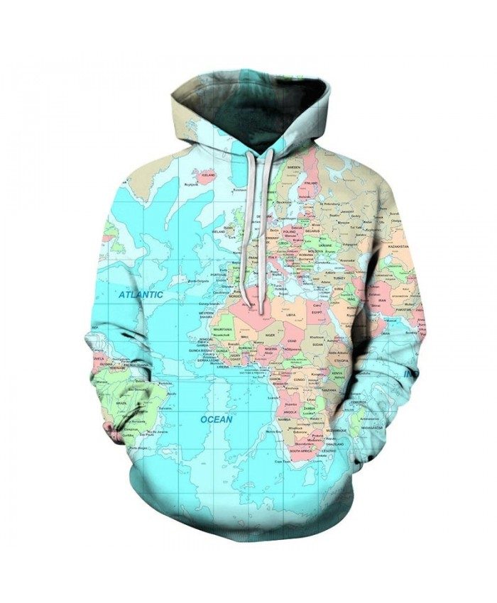 Cyan Ocean Map 3D Printed Men Pullover Sweatshirt Pullover Hoodie Hoodies Fashion Men Hoodie Streetwear Sweatshirt