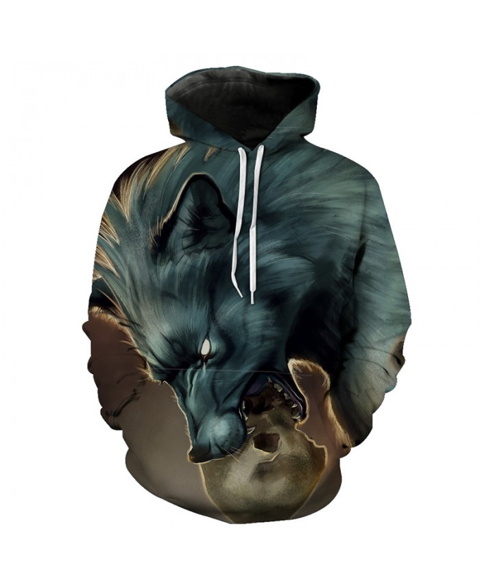 Dangling skull wolf Wolf Hooded Sweatshirt Neutral Hoodies Tracksuit Pullover Hooded Sweatshirt