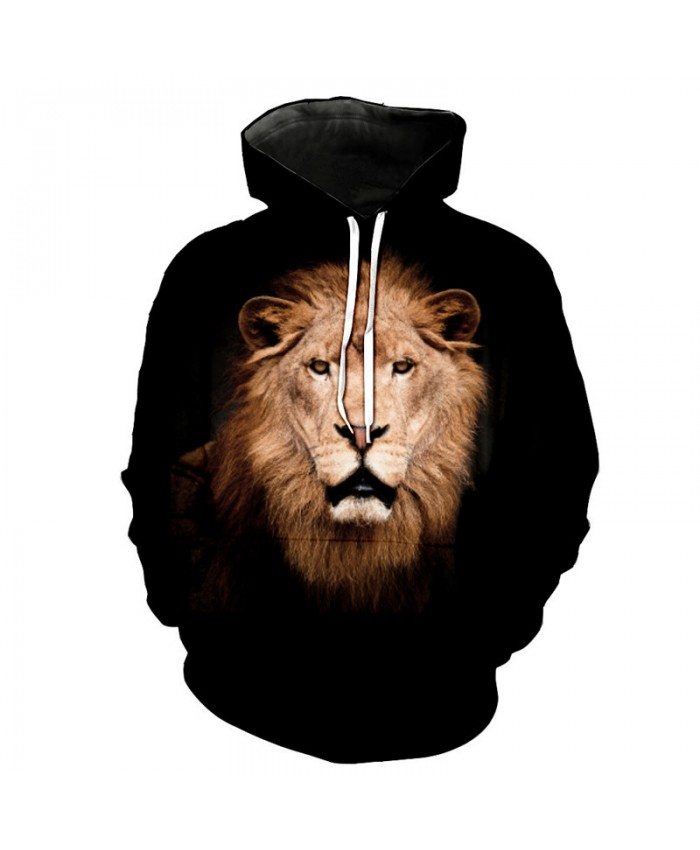 Dark Lion Print Neutral hooded sweatshirt Casual Hoodie Autumn Tracksuit Pullover Hooded Sweatshirt