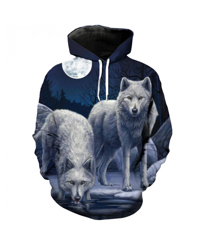 Dark night gray wolf print fashion 3D hooded sweatshirt Streetwear Men Women Casual Pullover Sportswear
