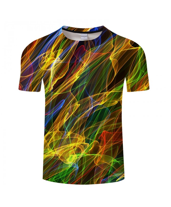 Dazzling Line 3D Print t shirt Men Women tshirt Summer Casual Short Sleeve O-neck Tops&Tees Camiseta Shine Drop Ship