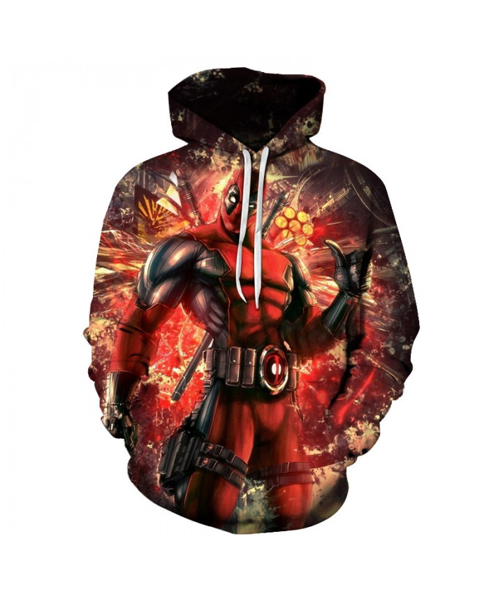 Deadpool 3D Sweatshirts Men/Women Hoodies With Hat Print Fashion Autumn Winter Loose Thin Hooded Hoody Tops 20 style 2019 New
