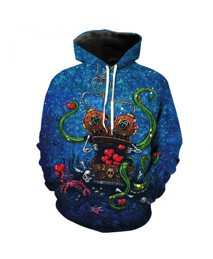 Deep Sea Abandoned Treasure Skull Print Fashion Personality Hooded Sweatshirt