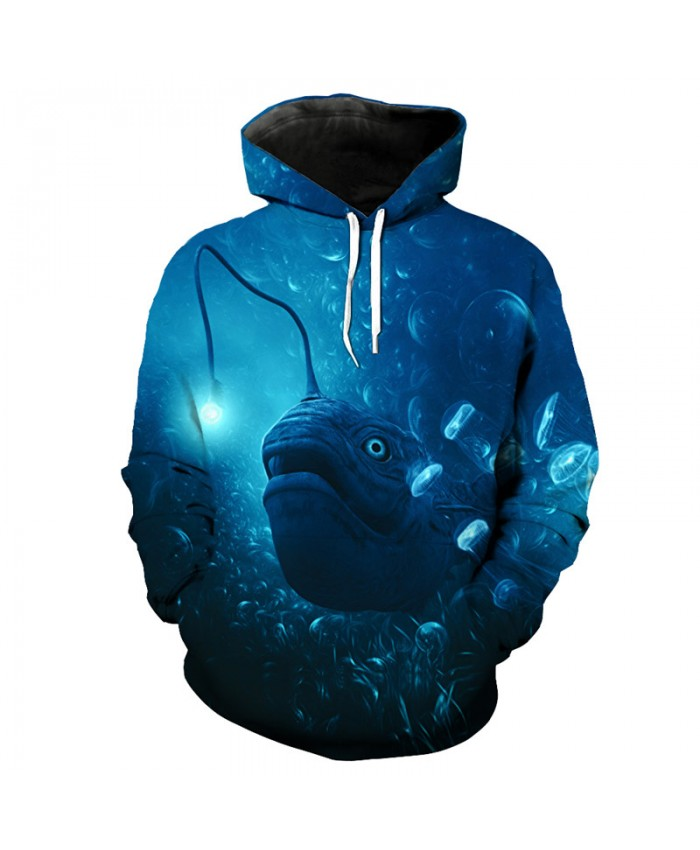 Deep sea lantern fish print fashion men's hooded sweatshirt Men Women Casual Pullover Sportswear
