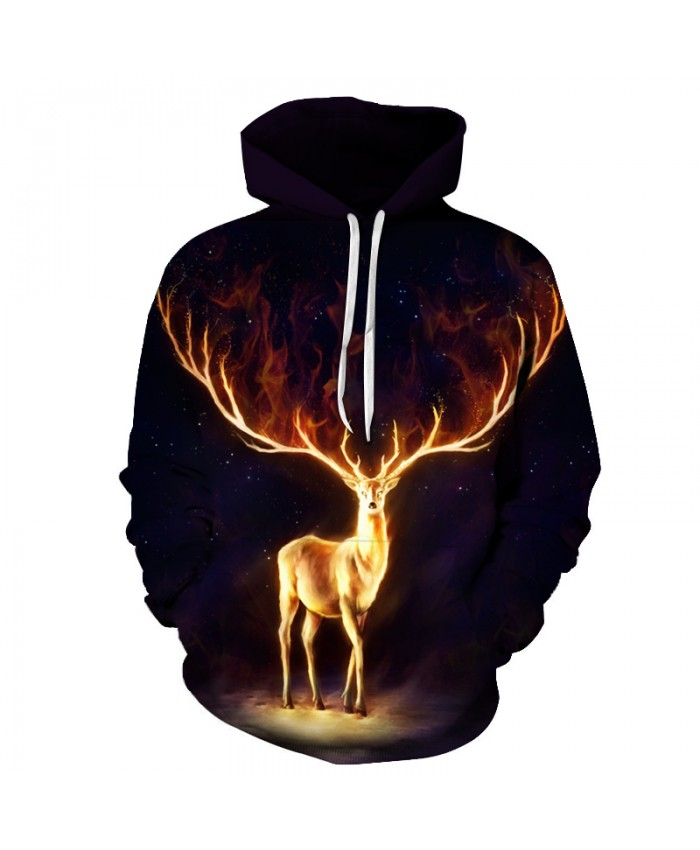 Deer Black Hoodies 3D Printed Sweatshirts Men Women Tracksuits Boy Pullover Fashion Outwear Male Coats Autumn Winter Brand