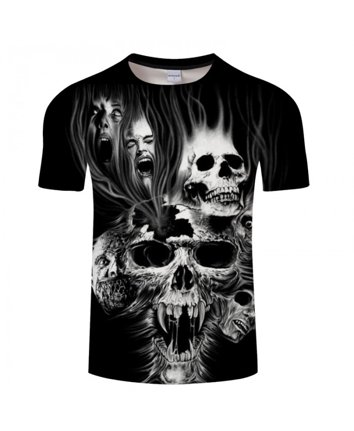 Devil Skull 3D Print t shirt Men Women tshirts Summer Terror Short Sleeve O-neck Tops&Tee Streetwear 2021 Drop Ship
