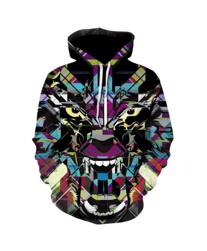Diamond Shape Lion Hoodies Men Women 3d Sweatshirts With Hat Print 3d Lion Howling To The starry sky Hooded Hoodies Hoody
