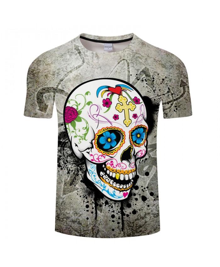 Digital Girly Skull 3D Print t shirt Men Women tshirt Summer Funny Short Sleeve O-neck Tops&Tee Streetwear Drop Ship